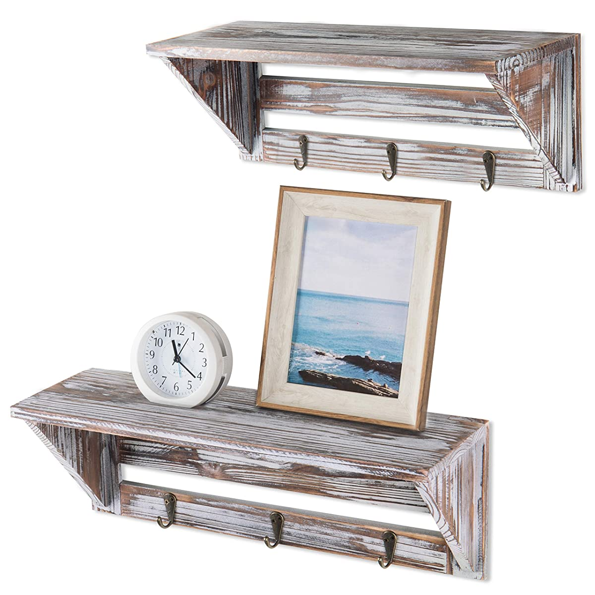MyGift Farmhouse Style Torched Wood Wall- Mounted Shelf Display Rack with 3 Key Hooks, Set of 2, Brown