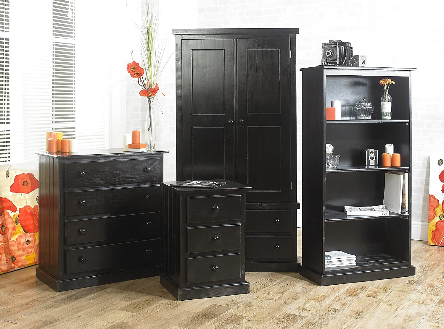 ready assembled bedroom furniture black solid pine 4 piece set