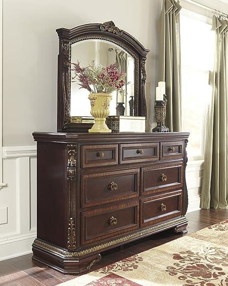 Wendlowe Collection Old World Style Dark Cherry Finish Ornate Bedroom Dresser