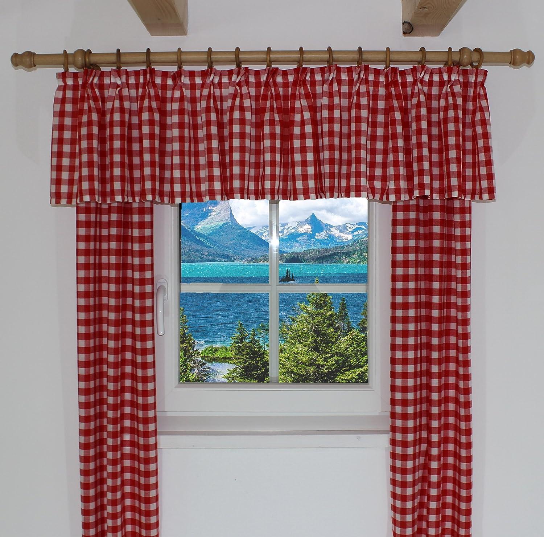 Vorhange Kinderzimmer Vichy : Gardine Rot Kariert Kariert Farbe Rot