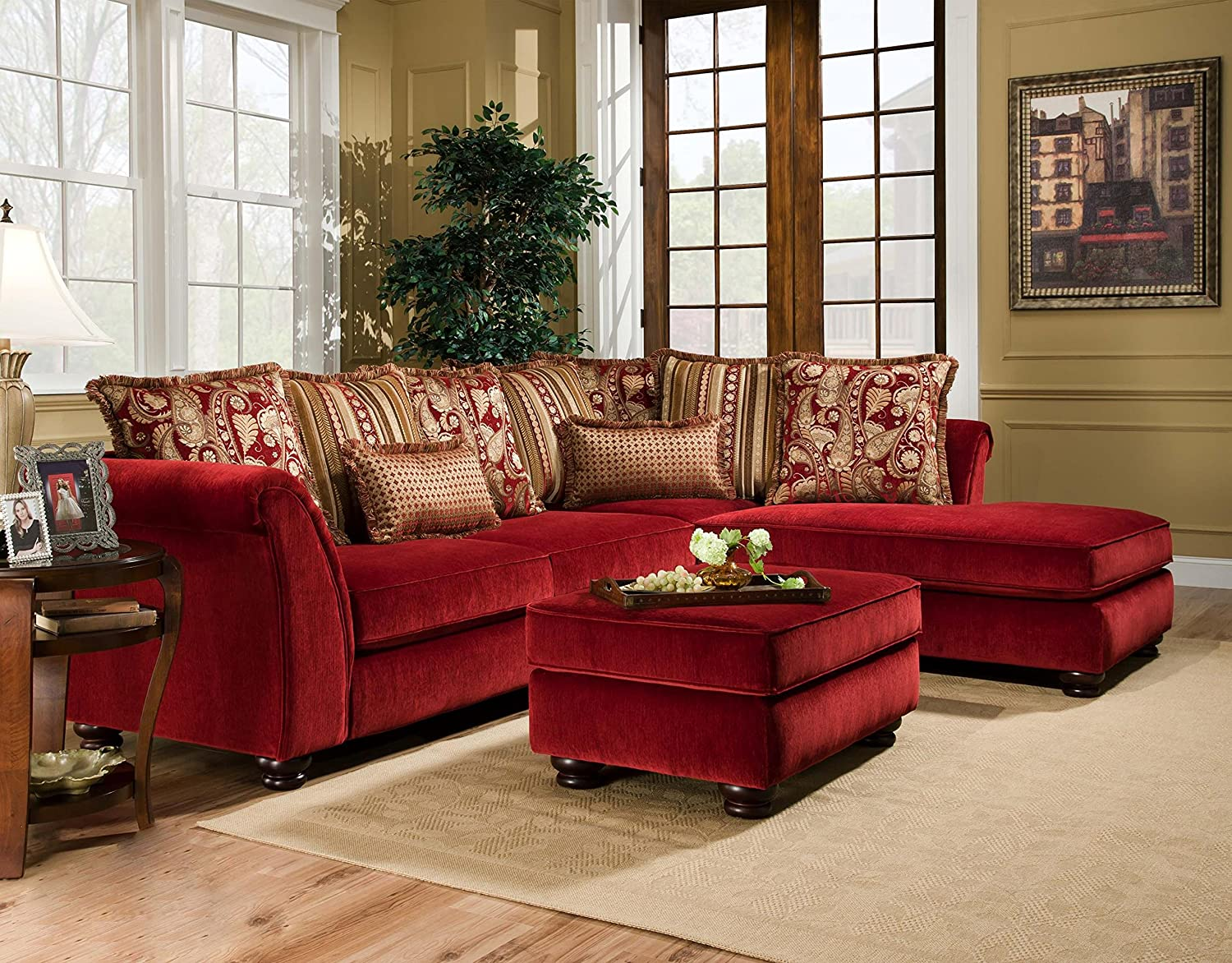 Chelsea Home Furniture Alexandria 2-Piece Sectional - Venice Scarlet/Bali Scarlet