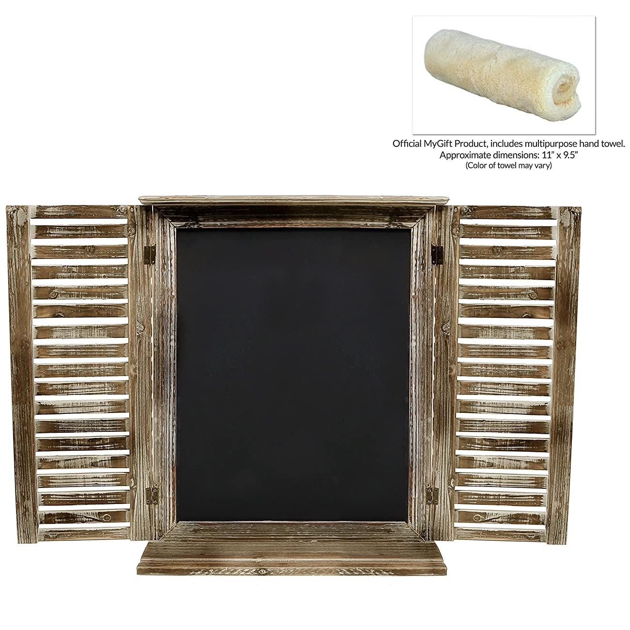 MyGift Rustic Standing Chalkboard with Folding Shutter Doors, Torched Wood Finish 5
