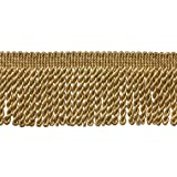 DecoPro 10 Yard Value Pack of Two Tone Gold 2.5 Inch Bullion Fringe Trim, Style# EF25 Color 8534 (30 Ft/9.5 Meters)