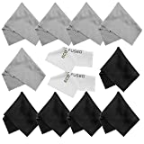 Microfiber Cleaning Cloths - 10 Cloths and 2 White Cloths - Ideal for Cleaning Glasses, Camera Lenses, iPad, Tablets, Phones, iPhone, Android Phones, LCD Screens and Other Delicate Surfaces (Color: 5 Black + 5 Grey)