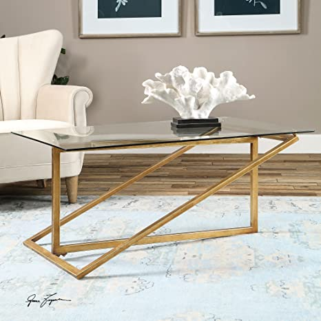 Geometric Minimalist Gold Iron Glass Coffee Table | Modern Contemporary