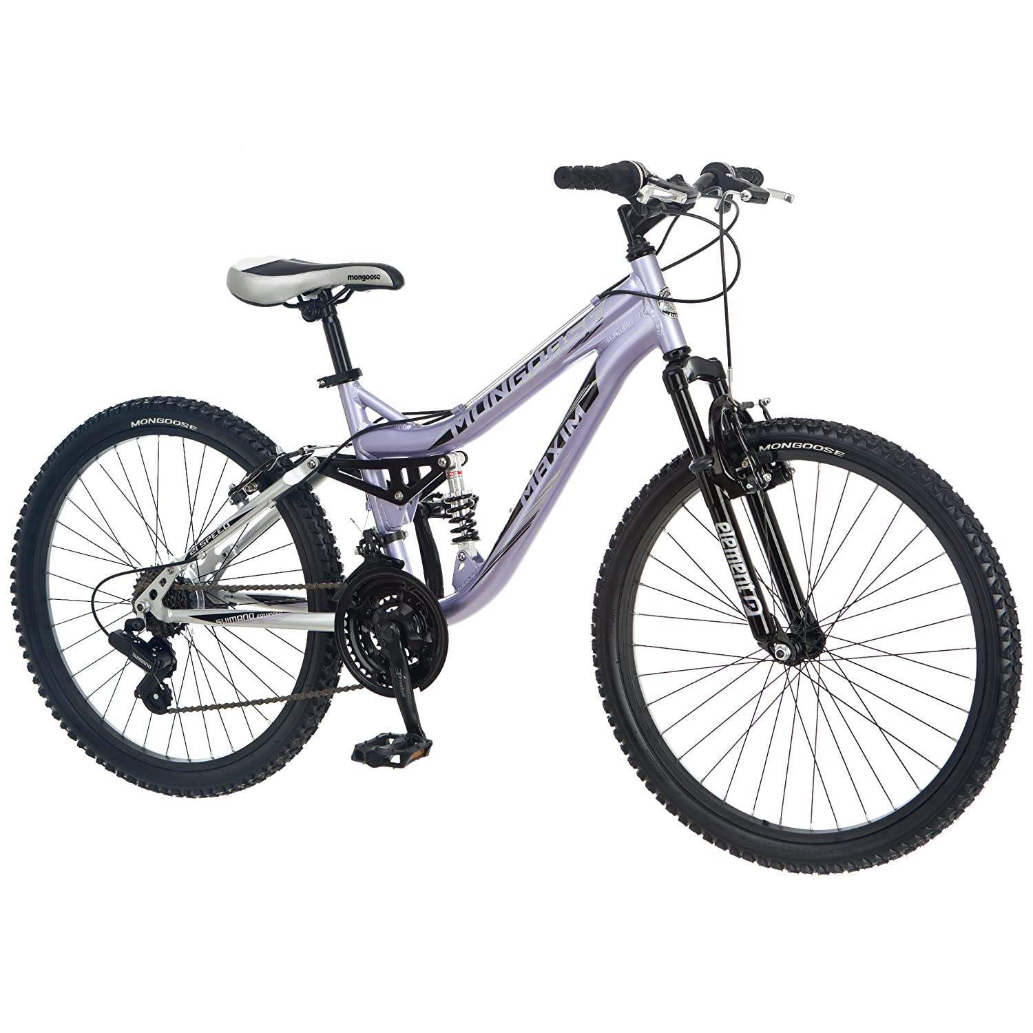 Mongoose Girl's Maxim Full Suspension Bicycle (24-Inch)