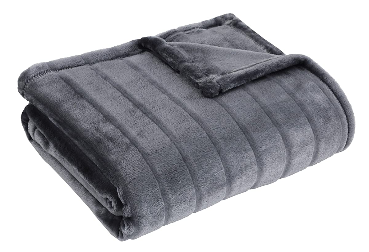 "Bertte Ultra Velvet Plush Super Soft Decorative Stripe Throw Blanket-50""x 60"", Dark Grey"