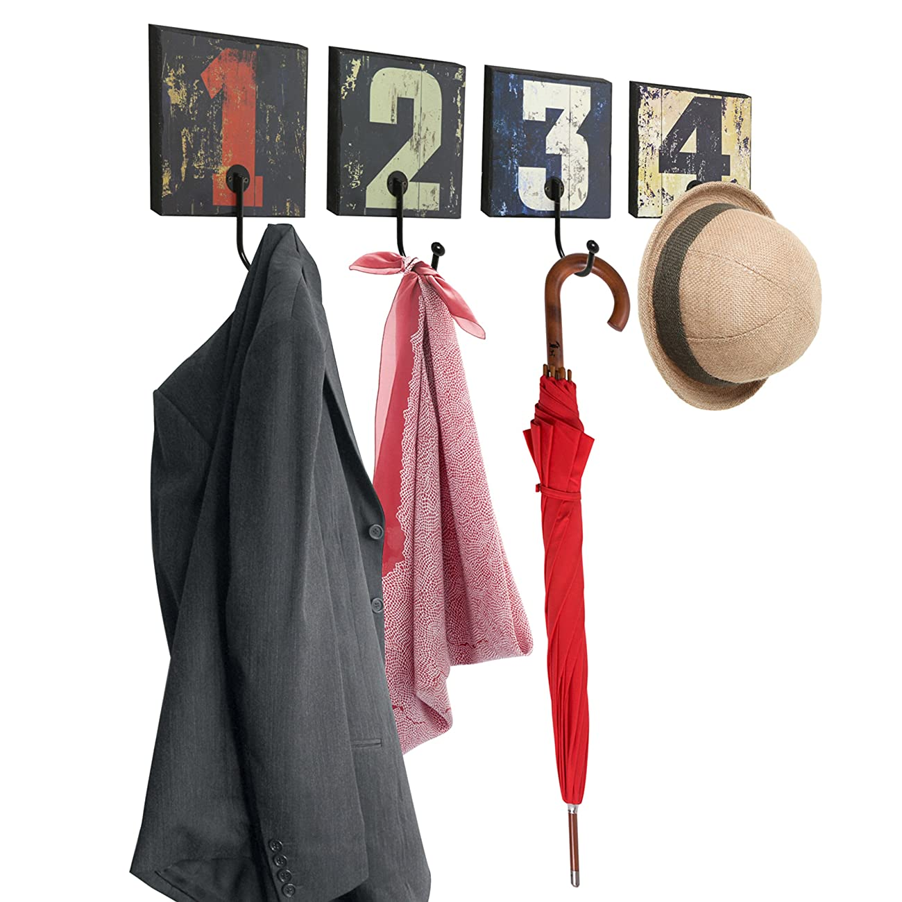 Decorative Vintage Rustic Style Numbers Design Wall Mounted Wood & Metal Hanging Storage Organizer Hooks 0