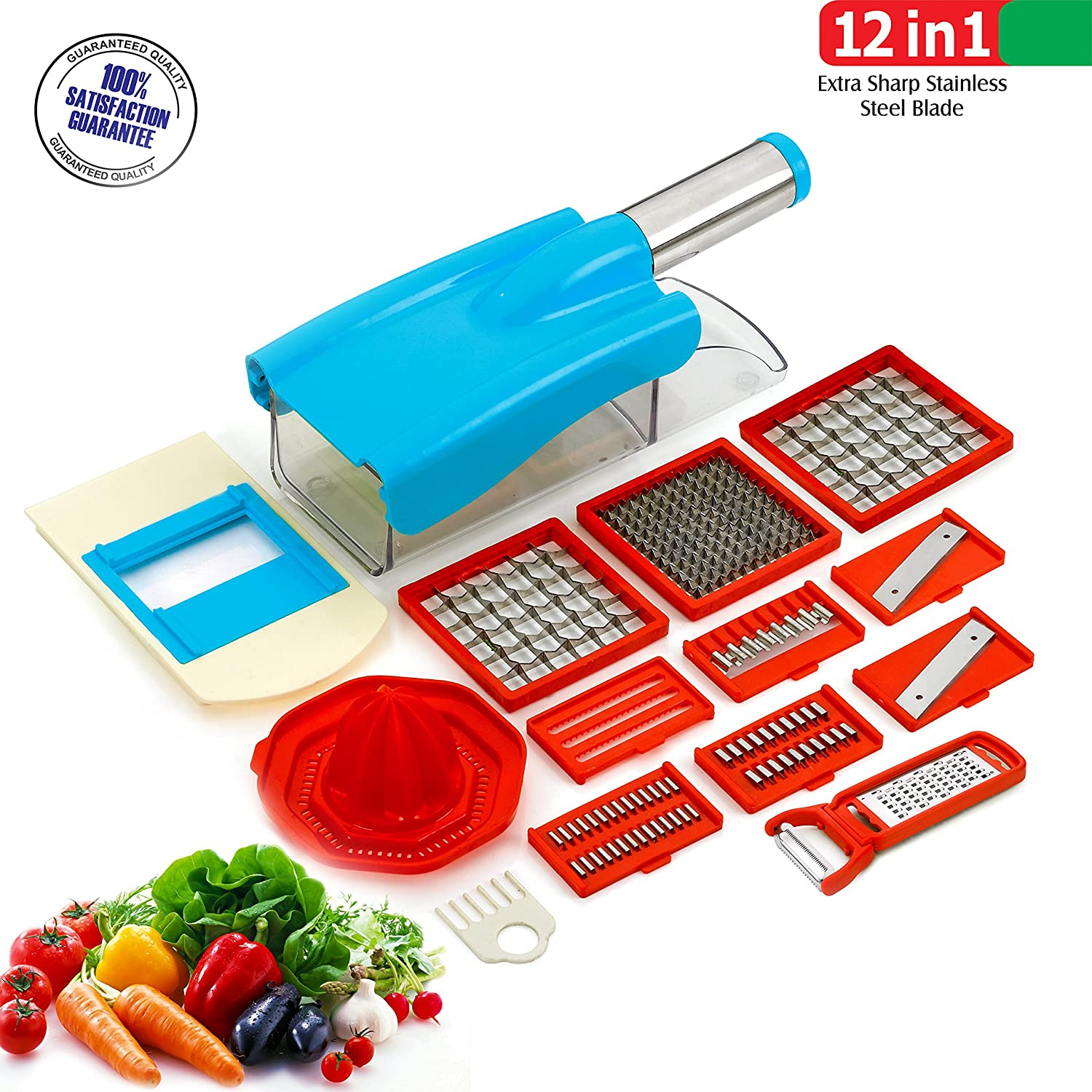 Upto 25% Or More off On Kitchen Tools By Amazon | BMS Lifestyle 12in1 Multipurpose Chopper Nicer Slicer Dicer - Vegetable and Fruit Chopper, Slicer, Cutter, Grater, Peeler for salads (Sky Blue,1 Year Warranty) @ Rs.545
