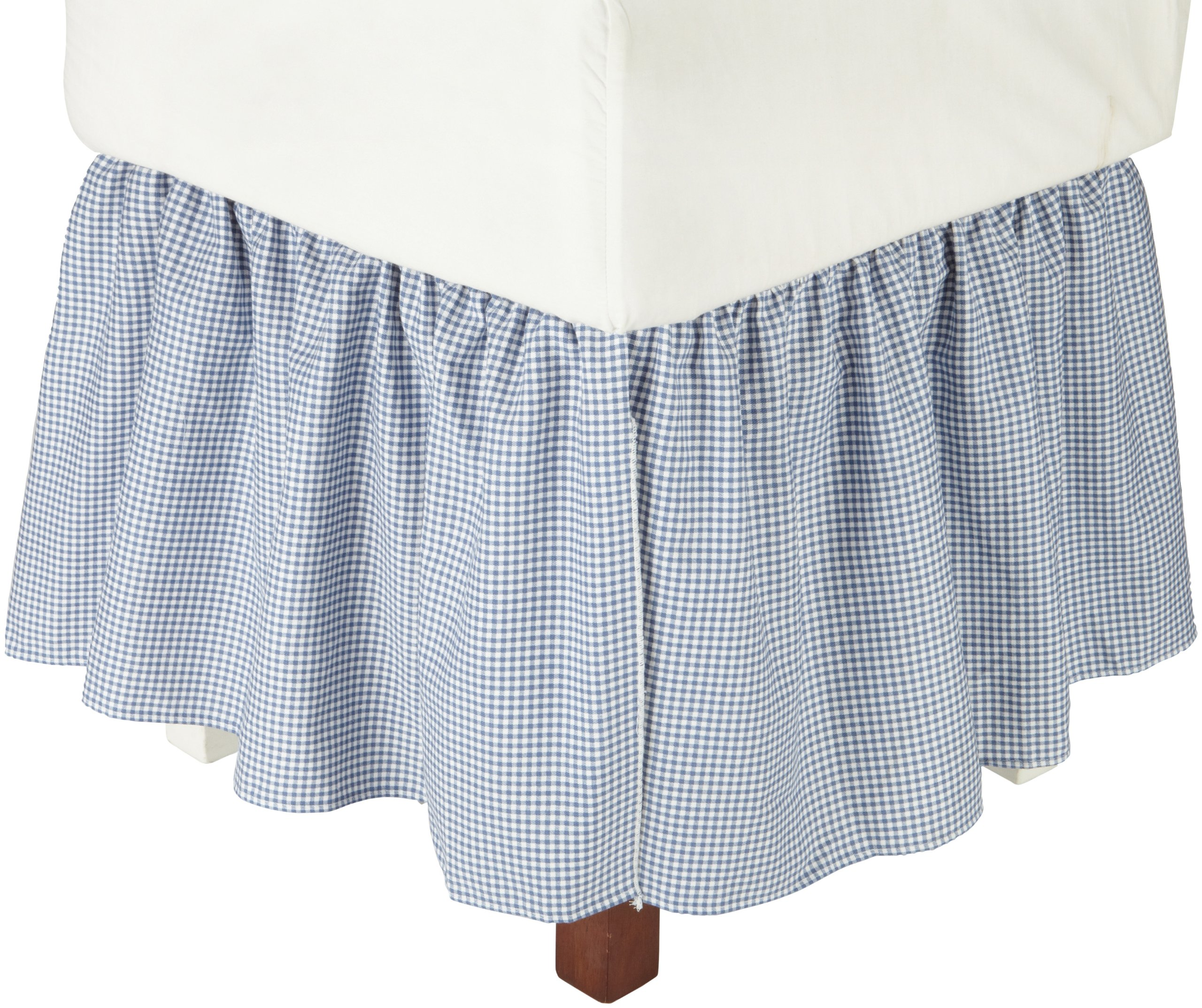 logan gingham check print 18 inch dust ruffle bed skirt king size blue. Black Bedroom Furniture Sets. Home Design Ideas