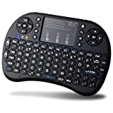 Rii FMKBTL1-IV1 i8+ BT Mini Wireless Bluetooth Backlight Touchpad Keyboard with Mouse for PC/Mac/Android, Black (RTi8BT-5) (Color: Black)