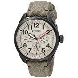 Citizen Men's 'Military' Quartz Stainless Steel and Nylon Casual Watch, Color:Green (Model: BU2055-08X) (Color: Khaki)