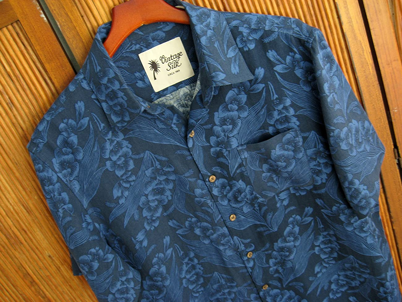 Mens Silk Linen Blend Hawaiian Camp Shirt Navy Blue Floral Casual 2