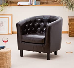 Chesterfield Style Tub Chair With Studded Back in Brown Leather       Customer reviews and more news