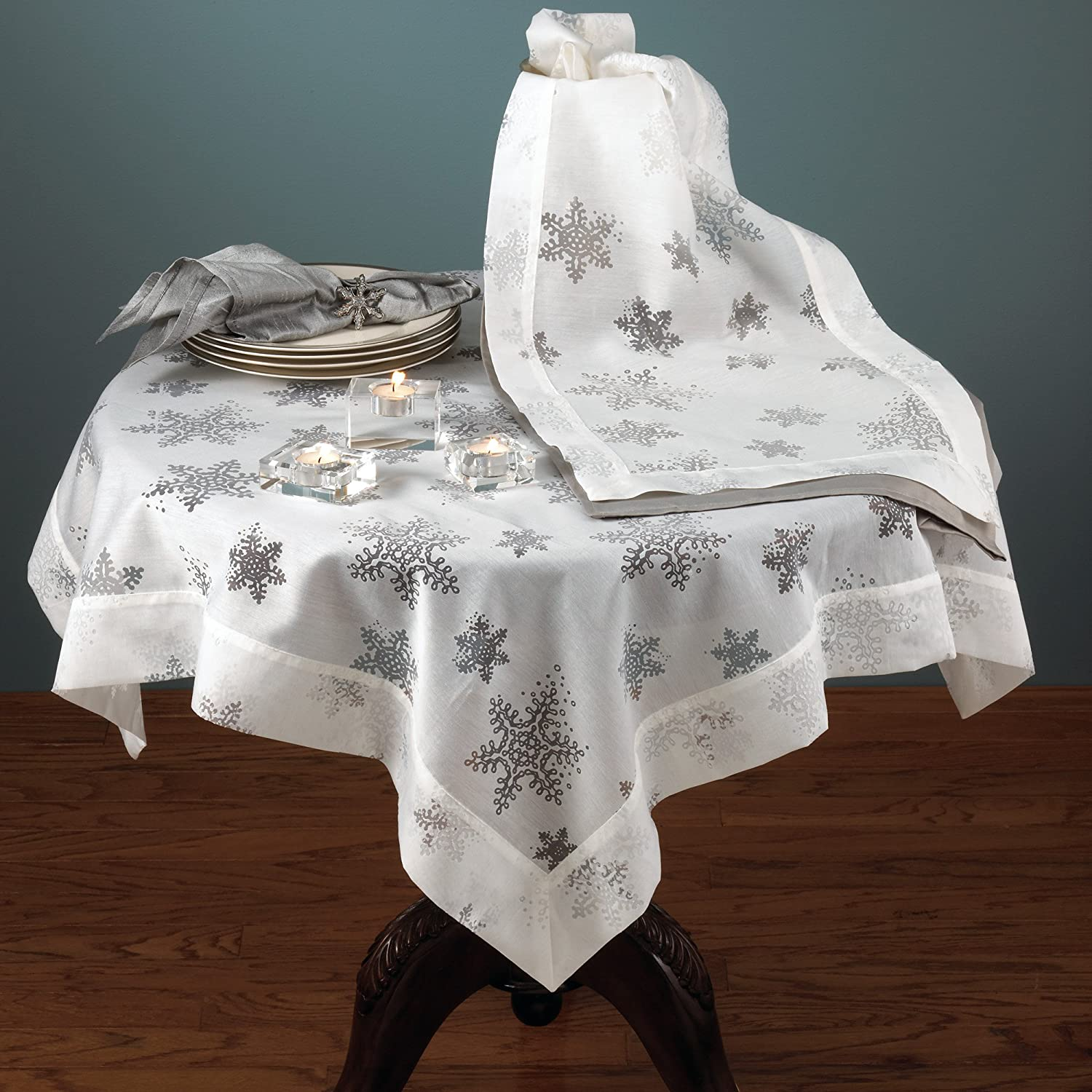 A Beautiful Holiday Tablecloth With Burnout Voile Evening Snowflake Design  Off White And White Colors Measures 80 Inches By 80 Inches Made ...