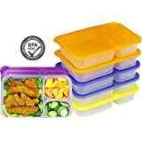 6 Pack - SimpleHouseware 3-Compartment Heavy Duty Bento Lunch Container Boxes, 36 ounces, 4 Color (Color: Color, Tamaño: 6 Pack)