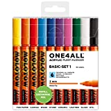 Molotow ONE4ALL Acrylic Paint Marker Set, 10 Basic Colors #1, 2mm (200.450) (Color: 10 Basic Colors #1, Tamaño: 2mm)