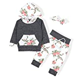 Baby Girls Long Sleeve Flowers Hoodie Tops and Pants Outfit with Kangaroo Pocket Headband(0-6 Months) (Color: A-grey, Tamaño: 0-6 Months)
