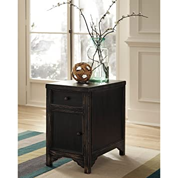 Metro Shop Signature Designs by Ashley Gavelston Black Chair Side End Table-Rubbed Black