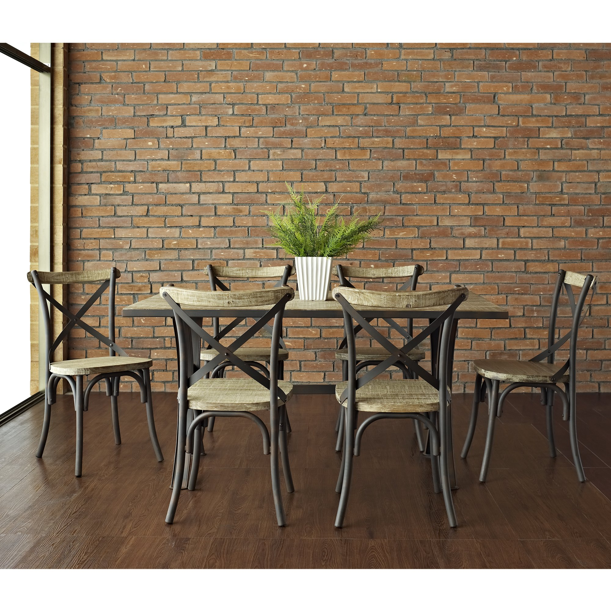Industrial reclaimed solid wood dining chairs set of