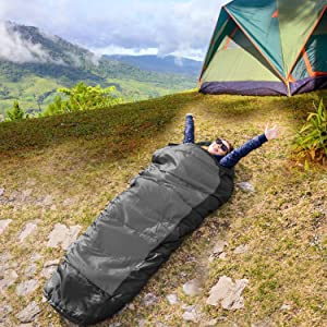 4 Season Sleeping Bag for Adults /& Kids for Hiking Traveling. Lightweight Warm and Washable HiHiker Camping Sleeping Bag Travel Pillow w//Compact Compression Sack