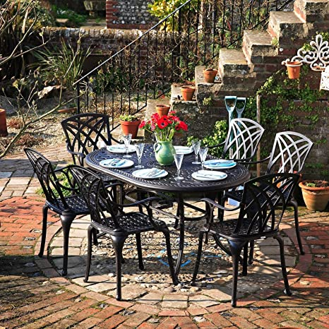 Lazy Susan - Table ovale 150 x 95 cm JUNE et 6 chaises de jardin - Salon de jardin en aluminium moulé, coloris Bronze ancien (chaises APRIL)