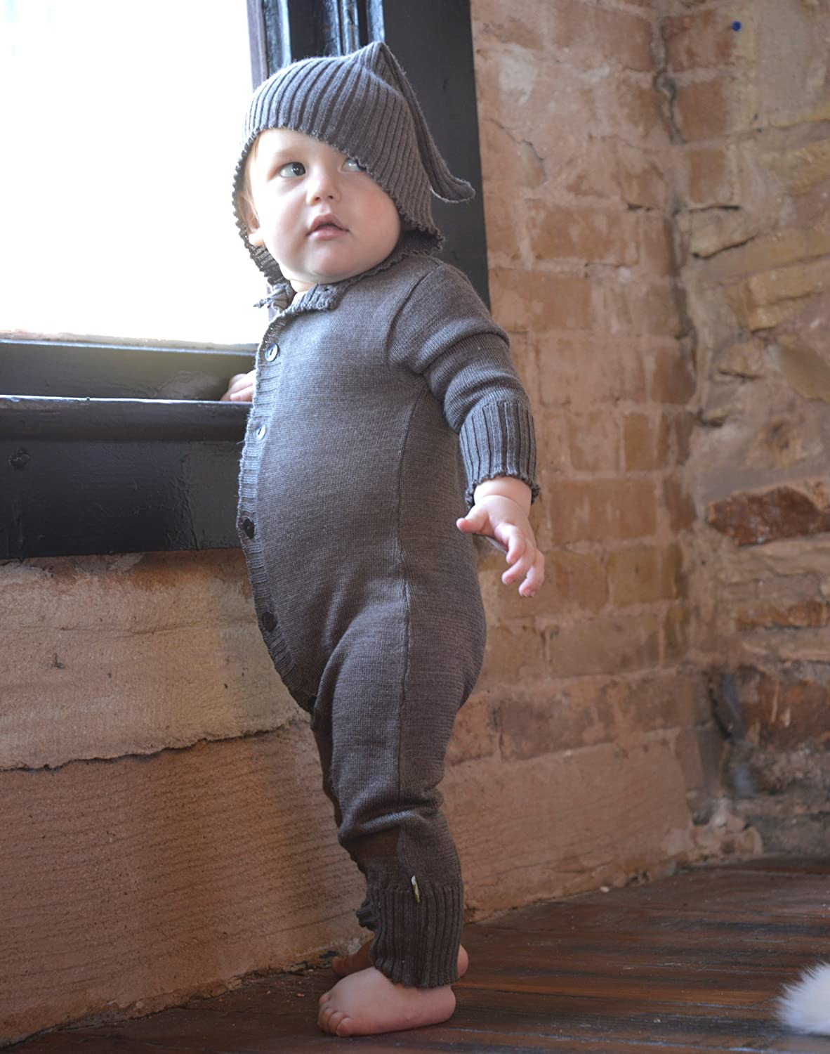 Nui Organics Merino Wool Hooded Romper in Cocoa