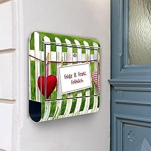 Design Briefkasten Edelstahl Briefkästen 38x42x11 von banjado mit Motiv Ihr eigener Text   Kundenbewertung und Beschreibung
