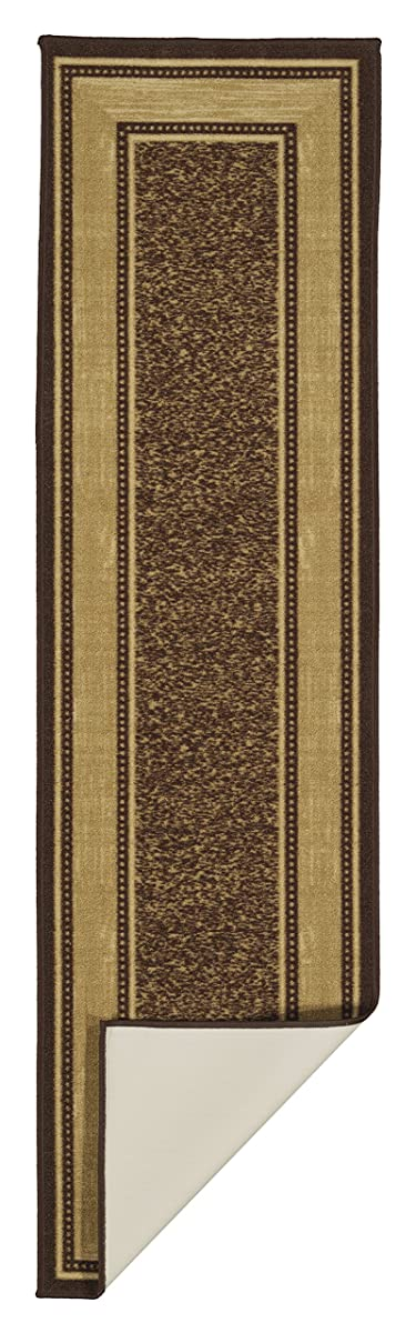 Ottomanson Ottohome Collection Chocolate Contemporary Bordered Design Modern Runner Rug With Non-Skid (Non-Slip) Rubber Backing (2X7) Non Slip Hall Bathroom Kitchen Runner Rugs Cheap New Long Easy Clean Hallway Mat