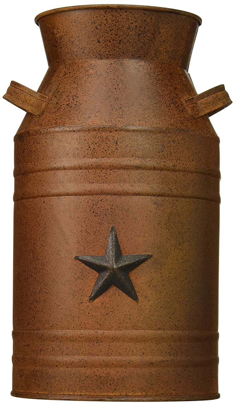 Craft Outlet Milk Can Container with Star Attached, 10.5-Inch, Rust 0