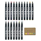 Kuretake Fudebiyori Bush Pen, Basic & Metallic, 18 Color Ink, Sticky Notes Value Set