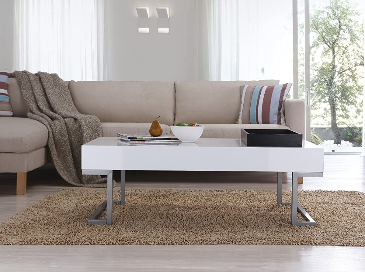 ioHOMES Verona Rectangular Coffee Table and Serving Block, Glossy White