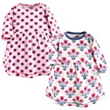 Touched by Nature Baby Girls' Organic Cotton Dress, Abstract Flower Long Sleeve 2-Pack, 0-3 Months (3M)
