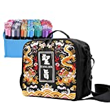 Embroidered Large Storage Tote Bag for Marker Pens Brush Pen Coloring Pencils Art and Crafts Supplies Tools Cosmetics (Black Dragon Embroidery) (Color: Black Dragon Embroidery)