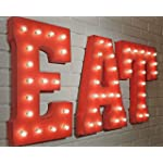 "EAT - (red) Large 21"" tall Metal Rustic Nostalgic Industrial Vintage Inspired Marquee Sign Letter Light"