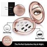 Magnetic Fake Eyelashes Set of 2 – Natural Lashes and Dramatic Lashes – Complete Falsies Kit for Day and Night – 2 Pairs of Reusable False Lashes + FREE Cosmetic Mirror Carrying Case by Golden Way (Color: Black)