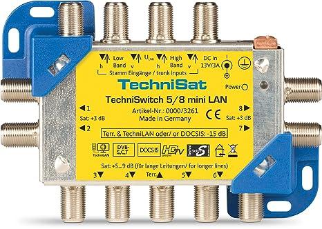 TechniSat 0000/3261 TechniSwitch 5/8 mini Multischalter-Satverteilung mit LAN fur 8 Teilnehmer