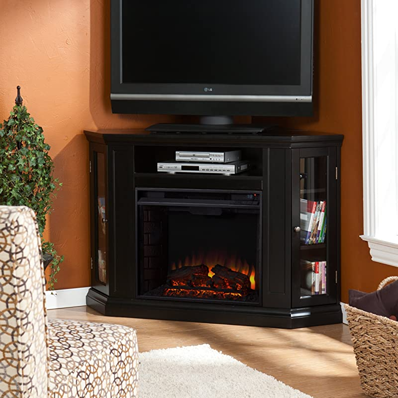 SEI Claremont Convertible Media Electric Fireplace, Black