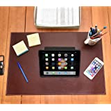 Desk Pad Blotter Protector Comfortable with Faux Leather Feels Smooth and Sturdy with Velvet Bottom. Color Dark Brown (16 x 24) (Color: Dark Brown, Tamaño: 16 x 24)