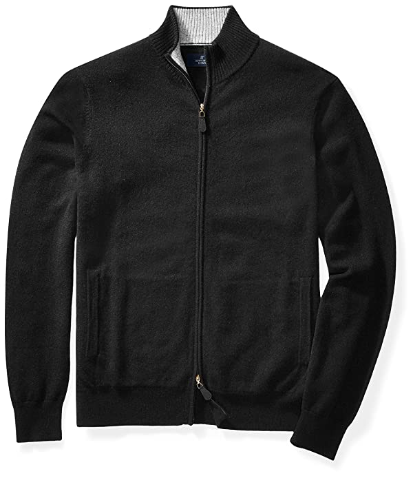 Buttoned Down Men's Cashmere Full-Zip Sweater, Black, Large