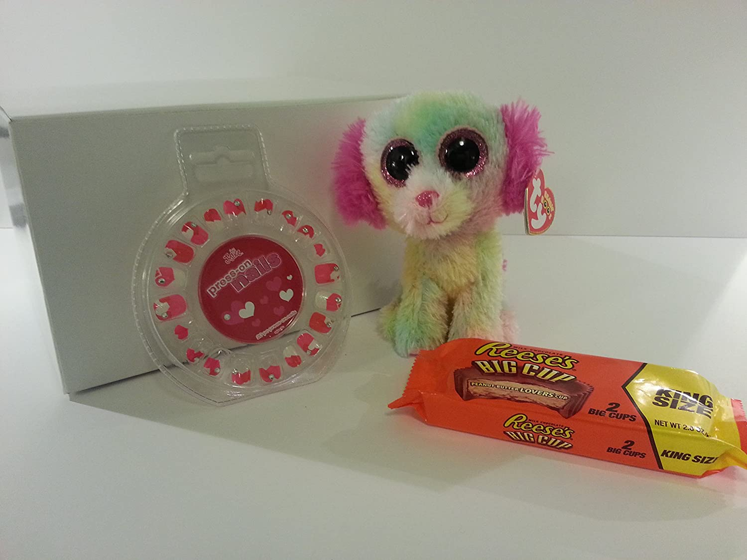 Best Easter Gift Set Heart Sparkle Press-on Nails by Justice, Plush Dog Ty Beanie Boos, A Pack of 2 Reese's Big Cups and Glossy White Gift Box