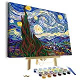 """Paint by Numbers for Adults - Framed Canvas and Wooden Easel Stand - DIY Full Set of Assorted Color Oil Painting Kit and Brush Accessories - Van Gogh The Starry Night 12""""x16"""
