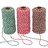 Sunmns 3 Roll Christmas Twine Cotton String Rope Cord for Gift Wrapping, Arts Crafts, 984 Feet (Multicolor A) (Color: Multicolor a)