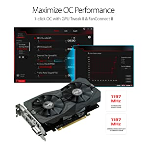 ASUS Radeon RX 560 14CU 4GB AURA OC Edition GDDR5 DP HDMI DVI AMD Graphics Card