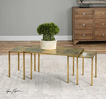 Copper Gold Nesting Coffee Table Set | Contemporary Metallic