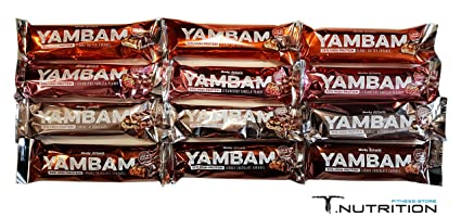 BodyAttack YAMBAM Protein Bar 12 x 80g MIX-Box (Erdbeere | Peanut | Schoko | Cookie)
