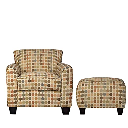 Metro Shop Portfolio Park Avenue Retro Beige Dot Armchair and Ottoman