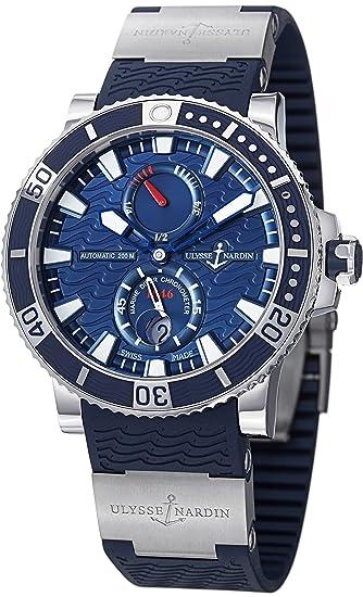 Ulysse Nardin Maxi Marine Diver Titanium Blue Dial Blue Rubber Mens Watch 263-90-3-93