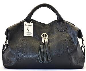 SAC DESTOCK - Sac à Main CUIR Grainé - Réf PARME / Nouvelle Colllection / Promotion / Handbag Leather (NOIR)   passe en revue plus d'informations