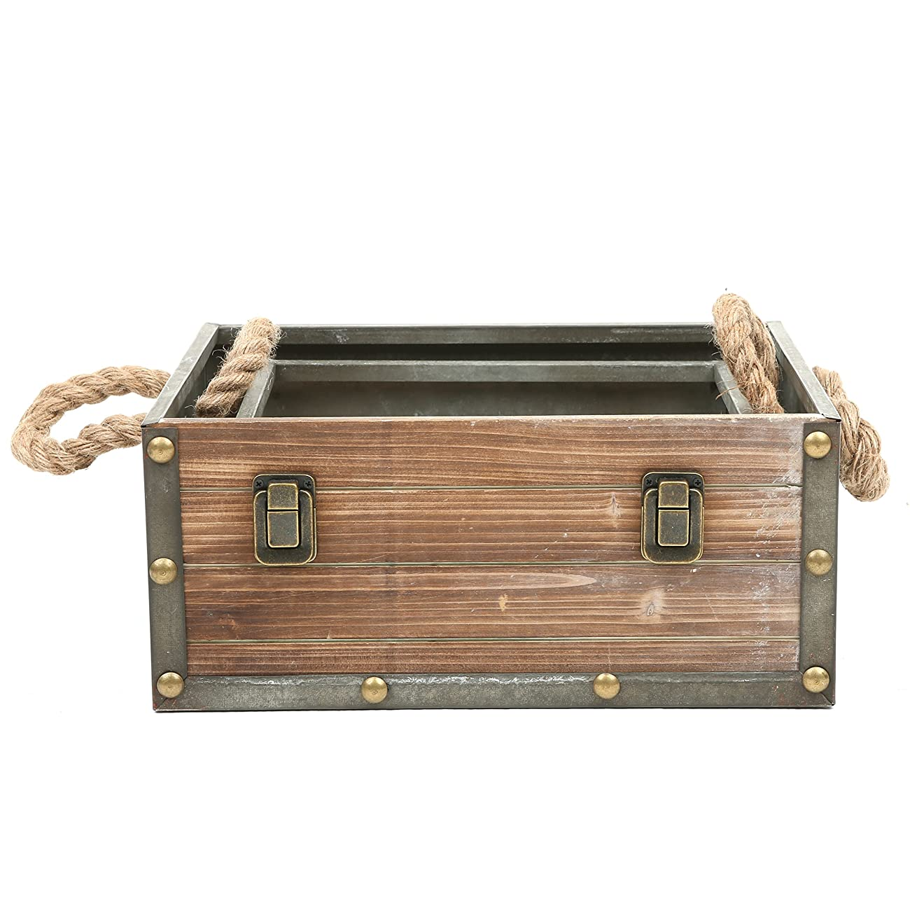 MyGift Set of 2 Wood Crates w/ Rope Handles, Rustic Nesting Storage Boxes, Brown 4